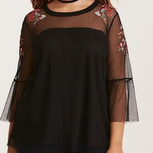 Torrid Boho Floral Embroidered Lace Tunic …